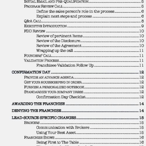 Franchise Sales Process Table of Contents